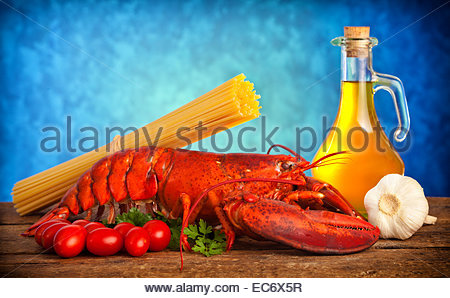 Ingredients of lobster with linguine on wooden table Stock Photo, Royalty Free Image: 60151275 ...