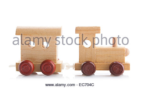 Wooden toy train on white background Studio photo - Stock Photo