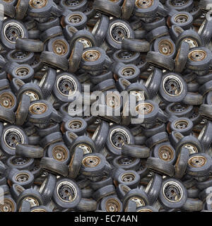 Old Tyres Seamless Background Pattern - Stock Photo