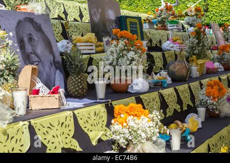 An alter honoring the dead at Plaza Guerrero during dia de los muertos celebration in Queretaro, Mexico