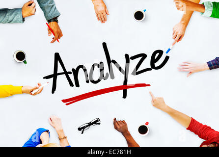 Multi-Ethnic Group of People and Analyze Concept - Stock Photo