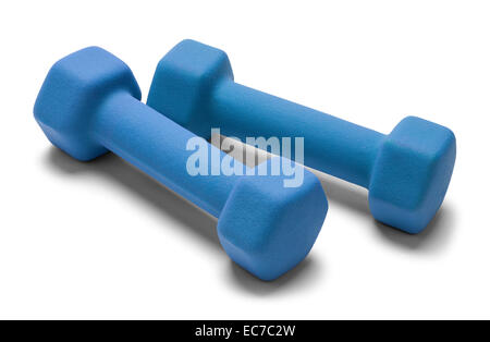 Two Hand Weights Side by Side Isolated on White Background. - Stock Photo