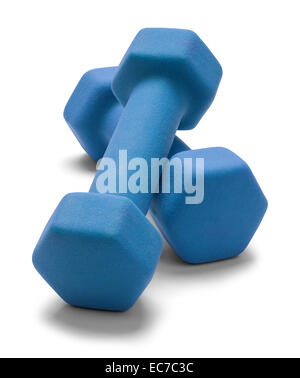 Blue Work Out Weights Isolated on White Background. - Stock Photo