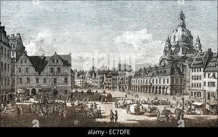 Church of Our Lady, Frauenkirche and Neumarkt square, Historical cityscape of Dresden, 18th century, Saxony, Germany, - Stock Photo
