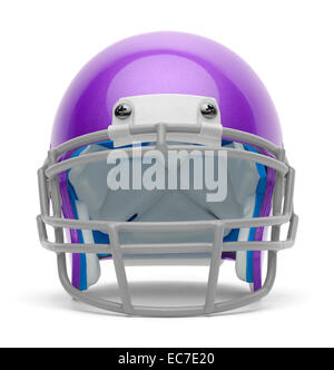 Purple Football Helmet Front View with Copy Space Isolated on White Background. - Stock Photo