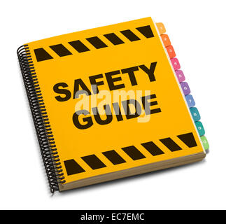 Yellow Spiral Safety Guide Book Isolated on White Background. - Stock Photo