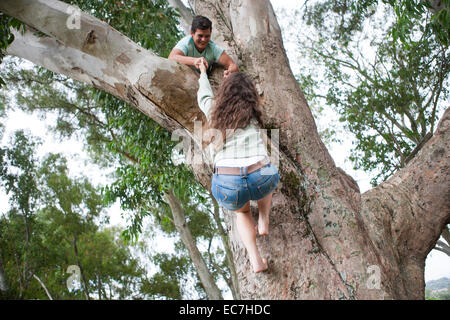 Teenager helping his girlfriend climing up a tree - Stock Photo