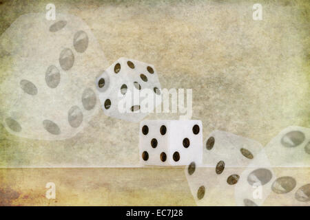roll of the die dice chance of landing on lucky six number on edge of shelf falling off with probability and chance - Stock Photo