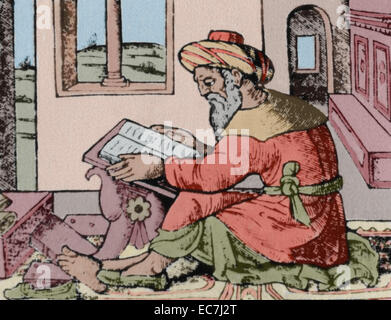 Averroes (1126-1198). Ibn Rushd. Medieval Andalusian Muslim polymath. Portrait. Averroes in his studio. Engraving - Stock Photo
