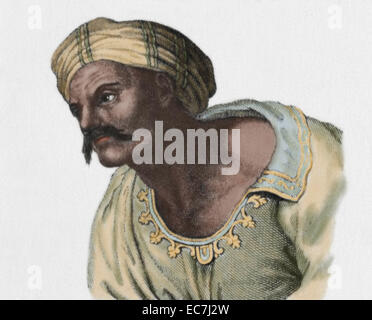 Averroes (1126-1198). Ibn Rushd. Medieval Andalusian Muslim polymath. Portrait. Engraving. Colored. - Stock Photo