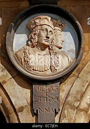 Philip V  1683-1746 and  Queen Johanna the Spirited Spanish King Royal Spain ( Plaza Mayor Square Salamanca ) - Stock Photo