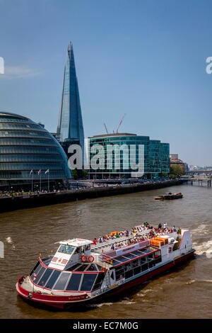 A Cruise Boat On The River Thames, London, England - Stock Photo