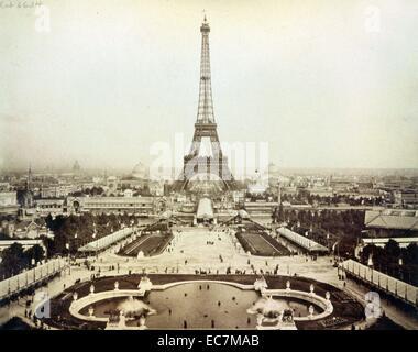 Eiffel Tower and Champ de Mars seen from Trocadéro Palace, Paris Exposition, 1889 - Stock Photo