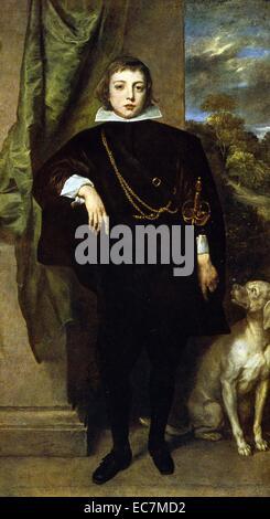 Portrait of Prince Rupert von der Pfalz and his dog, 1631. Rupert, Count Palatine of the Rhine, Duke of Bavaria, - Stock Photo