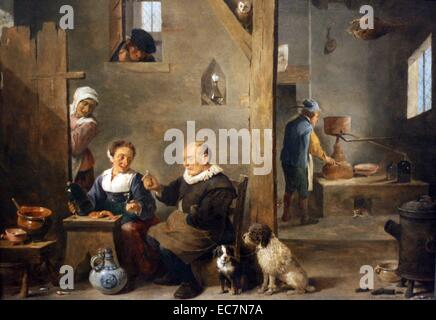 A Distillery with an Elderly Man Buying Gin by David Teniers the Younger. - Stock Photo