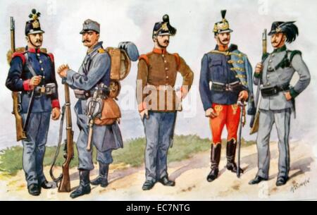 Uniforms of the Austro-Hungarian army in World War one - Stock Photo