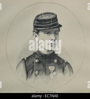 Engraving of the Prince Imperial, Napoléon Eugène Louis Jean Joseph Bonaparte (1856 - 1879). The only child of Emperor - Stock Photo