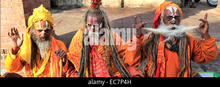 Portrait of Sadhu, Hindu holy man, in Hanuman Dhoka, UNESCO World Heritage Site, Durbar Square, Old Town, Kathmandu - Stock Photo