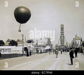 Photograph of the original Ferris Wheel, Aloft Balloon and other attraction at the World's Columbian Exposition, - Stock Photo