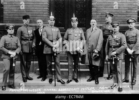 Defendants in the Beer Hall Putsch Trial. From left to right: Pernet, Weber, Frick, Kiebel, Ludendorff, Hitler, - Stock Photo