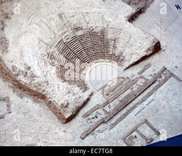 Model of Athenian Acropolis. The model shows the state of the Acropolis excavations and restorations in 1895, when - Stock Photo