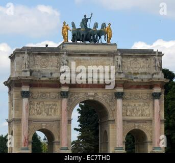 The Arc de Triomphe du Carrousel, triumphal arch in Paris - Stock Photo