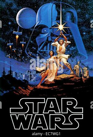 Film poster for George Lucas film 'Star Wars'  an American epic space/science fiction film series created by George - Stock Photo