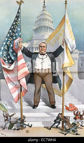 The pigmies attack; but the government still lives' President McKinley standing on the steps to the U.S. Capitol, - Stock Photo