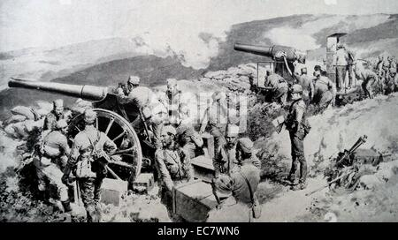 Serbian artillery soldiers defending their frontier against Austro-Hungarian attack;    1915 during the first world - Stock Photo