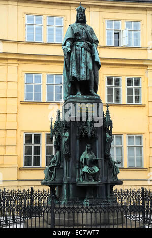 Czech Republic, Prague,square of the Knights of the Cross( Krizovnickem namesti). The bronze statue of Charles IV. - Stock Photo