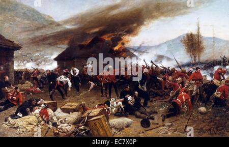 The Battle of Rorke's Drift, during the Anglo-Zulu War - Stock Photo