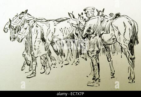 sketch of British cavalry during world one 1915 - Stock Photo
