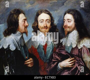 Sir Anthony Van Dyck;   Triptych portrait of King Charles I of England - Stock Photo