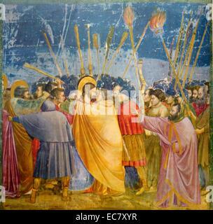 Giotto Di Bondone (c1266-1337) The Kiss of Judas 1304-5, Fresco. - Stock Photo