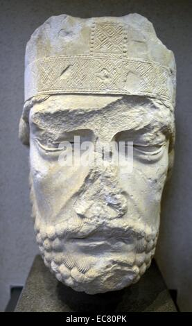 Stone statue of Head miter bishop by Picardy, third quarter of the 12th century. - Stock Photo
