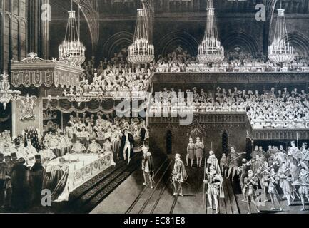 Coronation banquet of King George IV of Great Britain, at Westminster Hall, London 1820 - Stock Photo