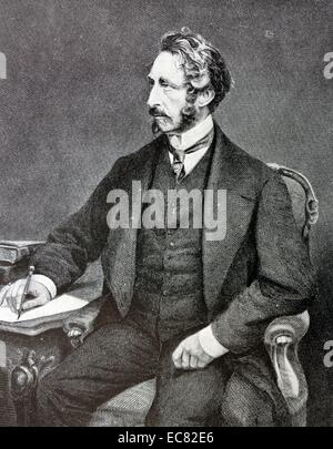 Engraving of Edward Bulwer-Lytton (1831-1891) English statesman, poet and Viceroy of India. Dated 1878 - Stock Photo