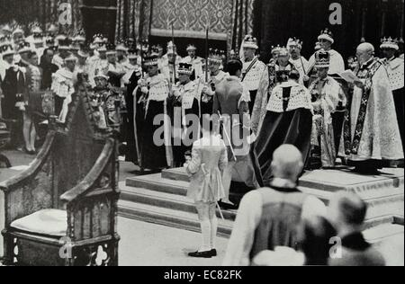 Photograph of King George VI (1895-1952) during his Coronation. Dated 1937 - Stock Photo