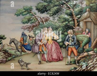 Plaque depicting scene with European people for a Dutch traders home in Canton - Stock Photo