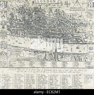 London Map 1593 by john Norden shows the stocks (for punishment), key buildings within the centre or City area - Stock Photo