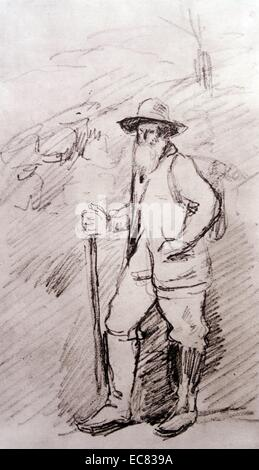 Sketch of Camille Pissarro (1830-1903) Danish-French Impressionist and Neo-Impressionist painter. Dated 1877 - Stock Photo