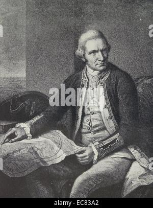 Portrait of Captain James Cook (1728-1779) British explorer, navigator, cartographer, and captain in the Royal Navy. - Stock Photo