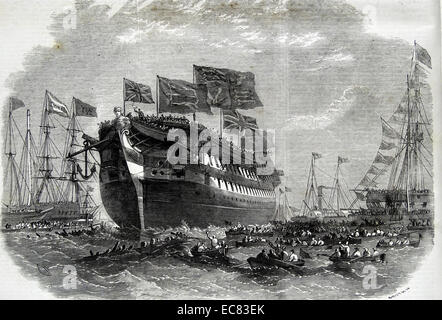 Launch of the screw line-of-battle ship 'Anson' at Woolwich. - Stock Photo