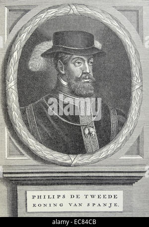 Philip II (1527 – 1598) King of Spain. From 1555; he was lord of the Seventeen Provinces of the Netherlands - Stock Photo