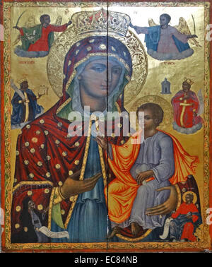 Greek Icon of Mary with Christ from the Church of the Holy Sepulchre. This church is in Jerusalem and is identified - Stock Photo
