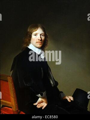 Portrait of Eduard Wallis. Painted by Johannes Cornelisz Verspronck (1600-1662). Dated 17th Century - Stock Photo