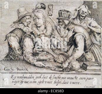 Engraving titled 'Unequal Love'. By Andries Stock (1580-1648) Baroque engraver, printmaker and illustrator. Dated - Stock Photo