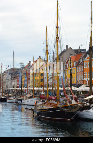 Nyhavn (New Harbour); a 17th-century waterfront; canal and entertainment district in Copenhagen; Denmark. it is - Stock Photo