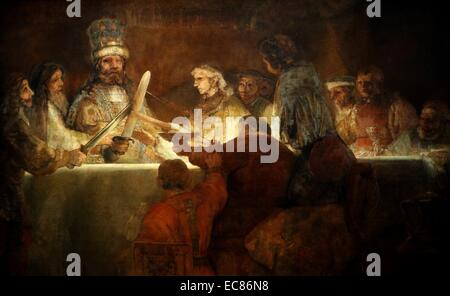 Painting titled 'The Conspiracy of the Batavians under Claudius Civilis' - Stock Photo