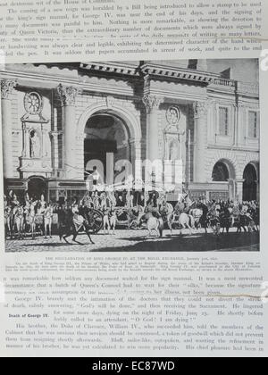 Photograph of the Proclamation of King George IV of Great Britain at the Royal Exchange, London. Dated 1820 - Stock Photo